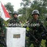 Yonif 743/PSY di Tapal Batas RI-RDTL Bersama Masyarakat Tanam Padi