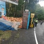 Tim Unit Lalu Lintas Polsek Kerambitan Bantu Evakuasi Truck Terguling